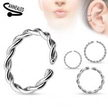 Faux piercing anneau oreille ou nez (sans perçage) style tressé argenté