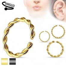 Faux piercing anneau oreille ou nez (sans perçage) style tressé plaqué IP