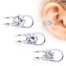 Faux piercing cartilage à clip avec strass