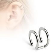 Faux piercing cartilage argenté à deux anneaux ouverts