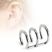 Faux piercing cartilage argenté à trois anneaux ouverts