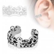 Faux piercing oreille en forme de couronne à fleur de Lys