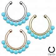 Faux piercing septum à demie-perles bleues