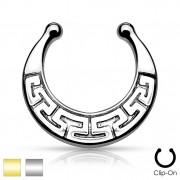 Faux piercing septum à motif labyrinthe style Maya