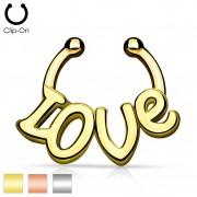 """Faux piercing septum avec mot """"Love"""""""