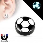 Faux plug d'oreille à ballon football fluo (magnétique - sans perçage)