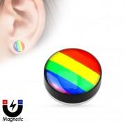 Faux plug d'oreille à drapeau arc en ciel style gay pride (magnétique - sans perçage)