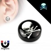 Faux plug d'oreille avec tête de mort pirate fluo (magnétique - sans perçage)