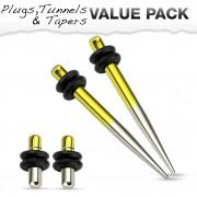 Lot de 4 écarteurs en acier argenté et jaune titanium (2 plugs+2 tapers)