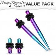 Lot de 4 écarteurs en acier bleu et violet titanium (2 plugs+2 tapers)