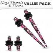 Lot de 4 écarteurs en acier tacheté rose, blanc et noir (2 plugs+2 tapers)