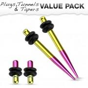 Lot de 4 écarteurs en acier violet et jaune titanium (2 plugs+2 tapers)