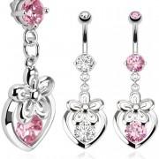 Micro piercing nombril avec pendentif à coeur fleuri et serti