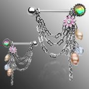 Paire de piercings tétons fleur et perles