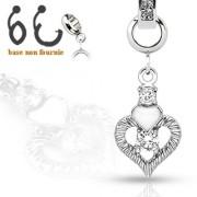 Pendentif coeur serti pour piercing nombril modulable