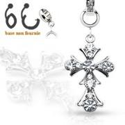 Pendentif croix vintage sertie pour piercing nombril modulable