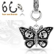 Pendentif papillon gothique pour piercing nombril modulable