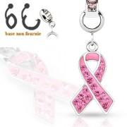 Pendentif ruban rose serti pour piercing nombril modulable