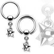 Piercing anneau captif avec pendentif boule à piques