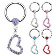 Piercing anneau captif avec pendentif coeur