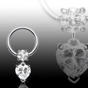 Piercing anneau captif avec pendentif coeur serti