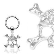 Piercing anneau captif avec pendentif tête de mort pirate