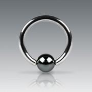 Piercing anneau captif en acier plaqué Hématite