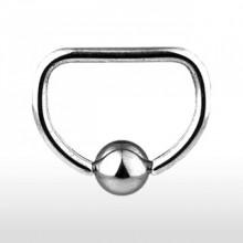 """Piercing anneau captif en forme de """"D"""""""
