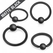 Piercing anneau captif noir mat