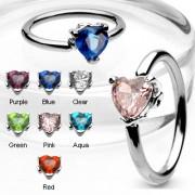 Piercing anneau captif serti d'une pierre en coeur