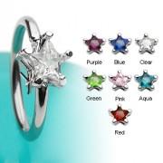 Piercing anneau captif serti d'une pierre en étoile