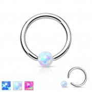 Piercing anneau CBR en acier avec opale synthétique