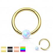 Piercing anneau CBR en acier plaqué IP avec opale synthétique