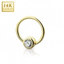 Piercing anneau CBR en or jaune 14 carats serti zirconium