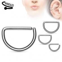 Piercing anneau oreille ou nez en D en acier