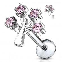 Piercing arbre de vie à strass roses (lèvre, cartilage...)
