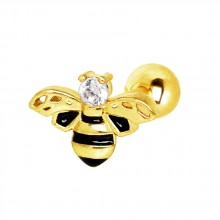 Piercing cartilage abeille dorée émaillée noire à strass