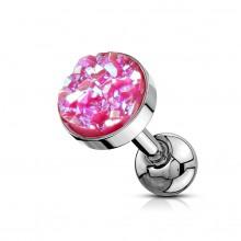 Piercing cartilage acier à druse ronde rose