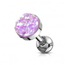 Piercing cartilage acier à druse ronde violet clair
