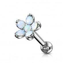Piercing cartilage à fleur d'opalites et Opale - Blanc