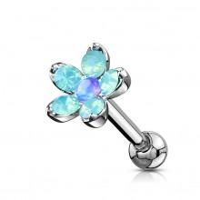 Piercing cartilage à fleur d'opalites et Opale - Bleu