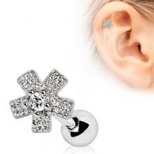Piercing cartilage à fleur pavée de zirconiums