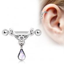 Piercing cartilage hélix à pendentif style tiare celtique