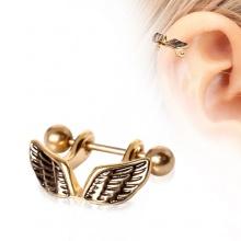 Piercing cartilage hélix doré en acier à ailes d'ange