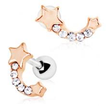 Piercing cartilage hélix étoile filante cuivrée