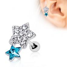 Piercing cartilage helix étoiles strass asymétriques
