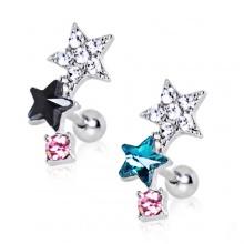 Piercing cartilage helix tricolore à duo d'étoiles strass