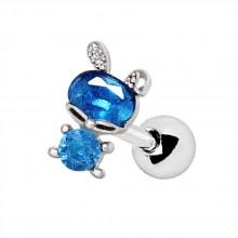 Piercing cartilage à lapin de zirconiums clairs et bleus
