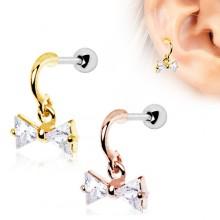 Piercing cartilage à noeud papillon plaqué or