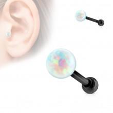 Piercing cartilage noir avec perle d'Opale à filetage interne